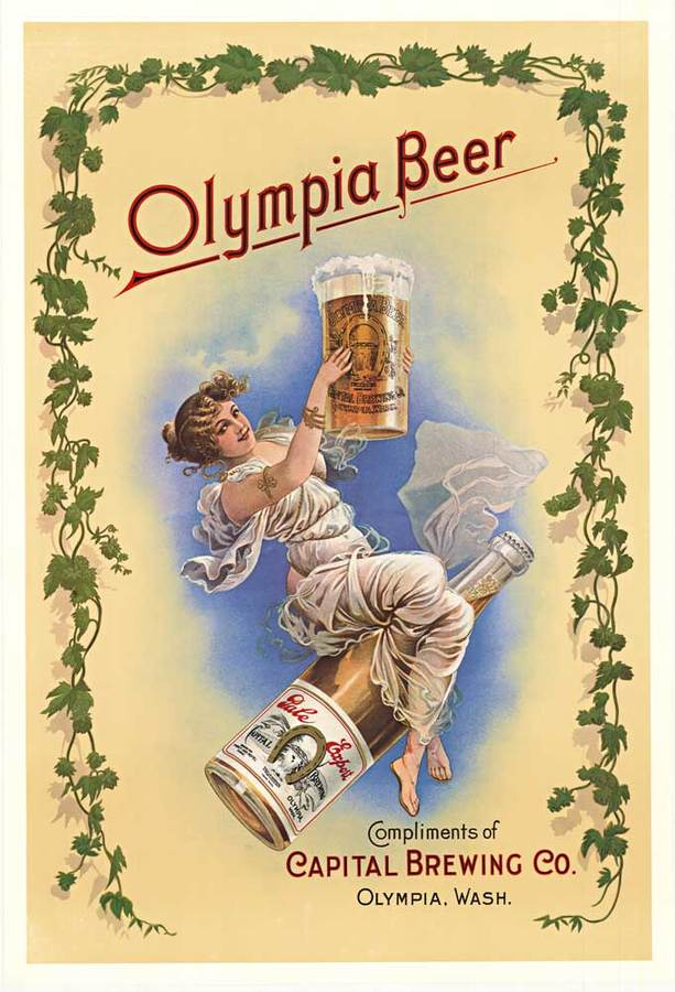 Anonymous Artists - OLYMPIA BEER (Girl on bottle) border=