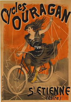 Title: Cycles Ouragan (French Bicycle) , Date: c 1900 , Size: 28 x 40