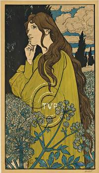Title: Eugene Grasset Woman and Flowers, Meditation , Size: 18 x 31.5 , Medium: Giclee , Price: $249