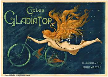 Title: Cycles Gladiator , Date: R-1895 , Size: 39 x 55 inch (Italian) , Medium: Archival Ink Print